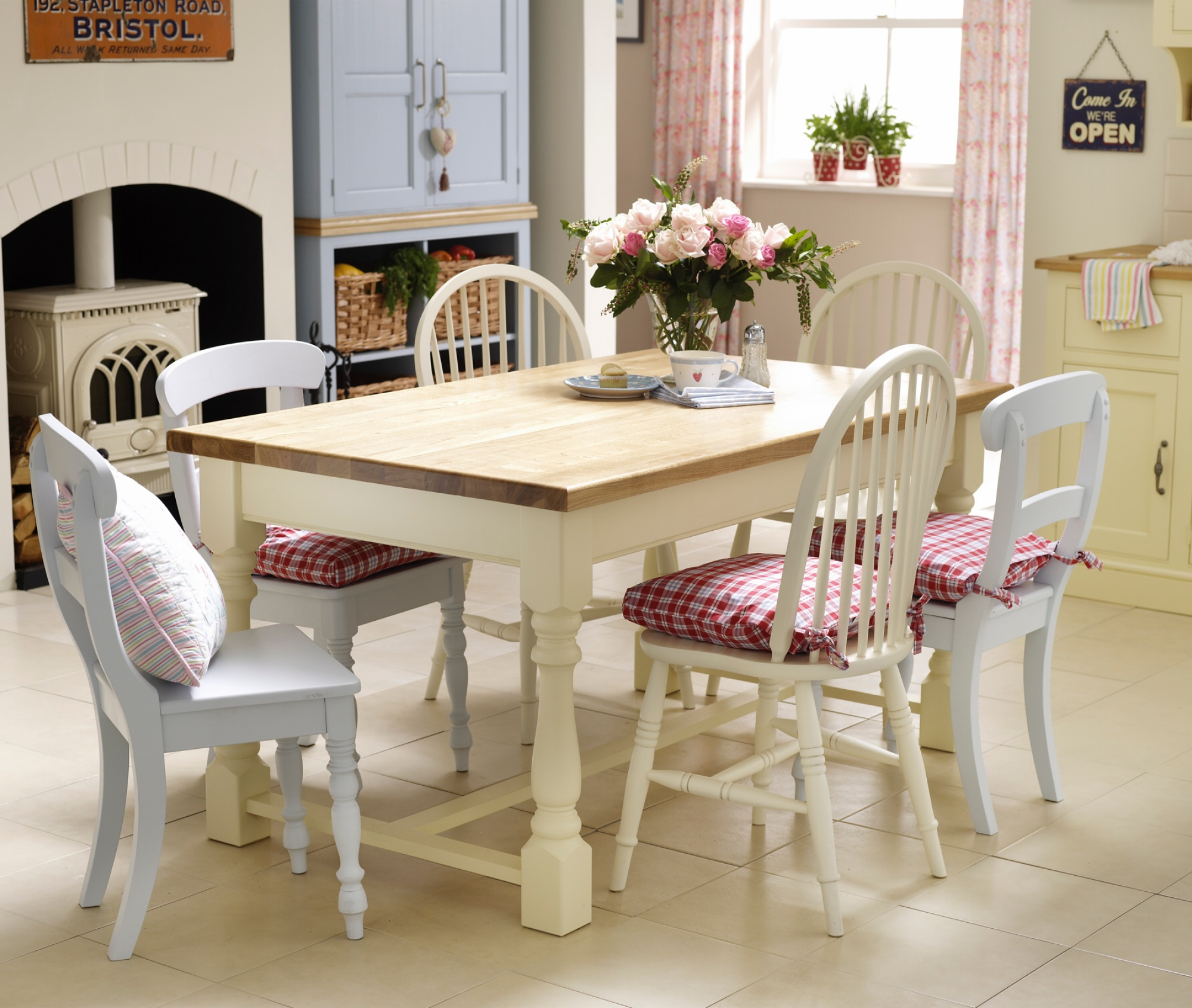 Village Green Chatsworth Oak Table And A Selection Of Painted Chairs